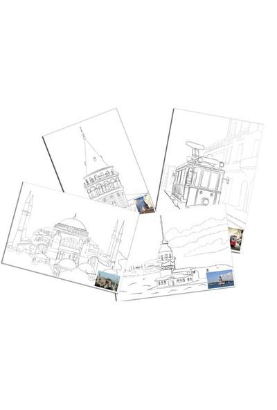 Ceo Art Desenli Tual 35X50 Cm Boyasız - 4 Lü Set ( Taksim Treni, Ayasofya, Galata, Kız Kulesi)