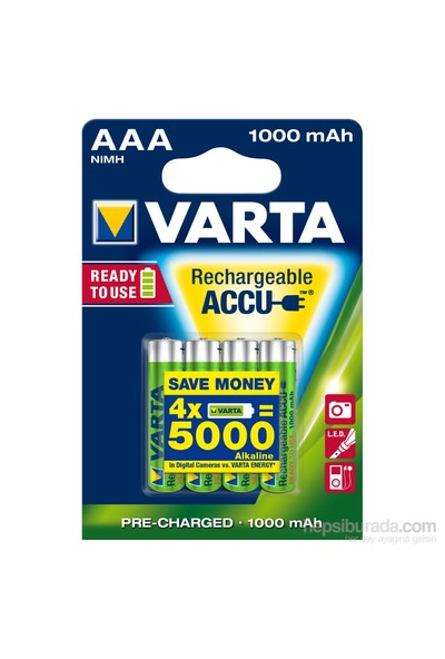 Varta Rechargeable Accu Aaa / Hr03 Ready To Use 1000Mah Bls 4 5703301404