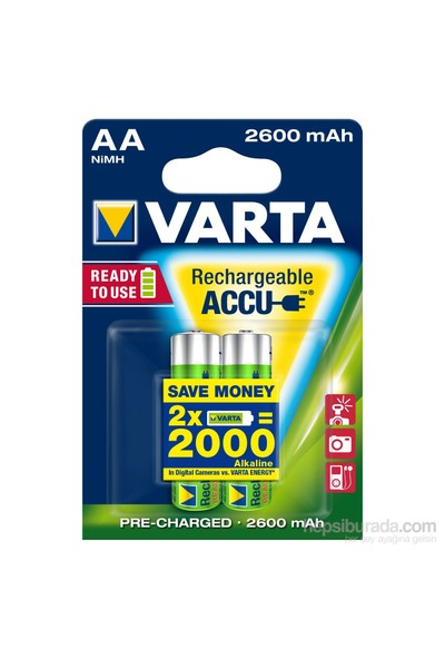 Varta Rechargeable Accu Aa / Hr6 Ready To Use 2600Mah Bls 2 5716101402
