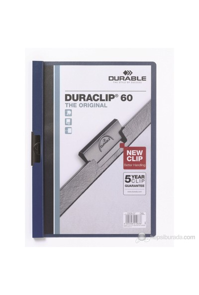 Durable Duraclip 60 Sayfa Kapasiteli Sıkıştırmalı Dosya (2209) Lacivert