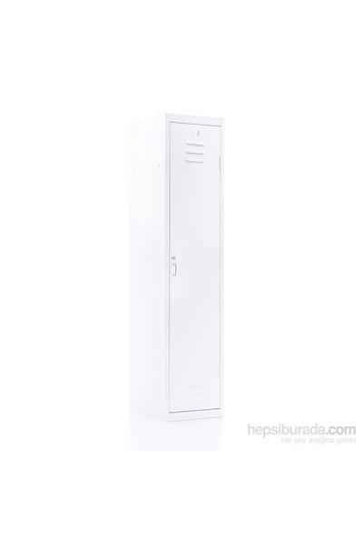Ersa Mobilya Zen Metal Tek Kapaklı Soyunma Dolabı Beyaz