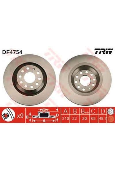 Trw Df4754 Arka Fren Aynası Golf V-Vı-Passat 07/05>Varıant 05>Eos 06>A3 03>Scırocco 08>(310X22x9dlxhavalı)