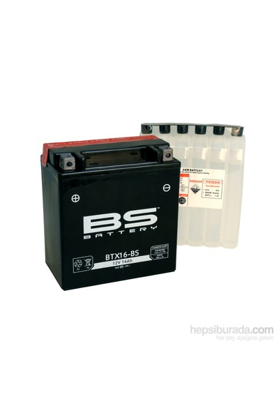 Bs-Battery Btx16-Bs (Ytx16-Bs) 12V 14Ah 230Cca Agm Bakımsız Motosiklet Aküsü