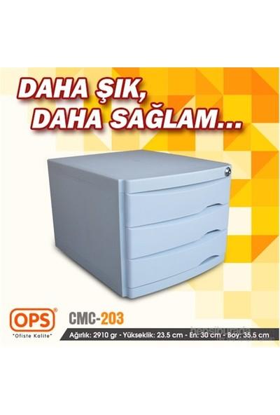 Ops CMC203 3 Çekmeceli Kilitli Evrak Rafı (Gri)