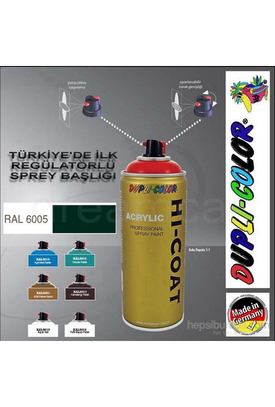 Dupli-Color Hi-Coat Ral 6005 Parlak Yosun Yeşili Akrilik Sprey Boya 400 Ml. Made in Germany 406300