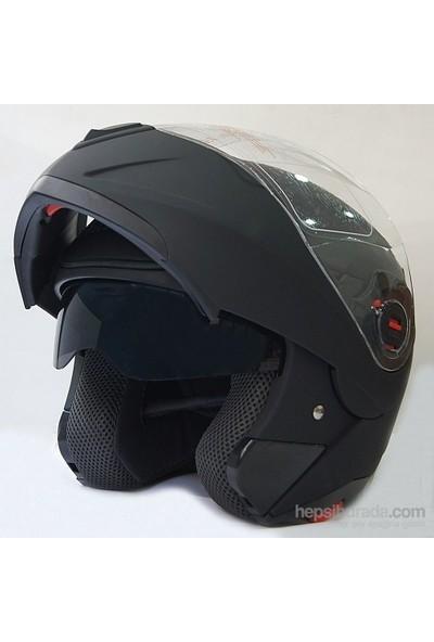 FF-961 Çeneden Açılır Kask Güneş Vizörlü Mat Siyah + Maske Hediyeli