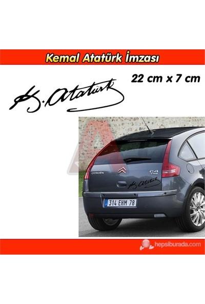 AutoCet SİYAH K.Atatürk İmza Sticker 3238a