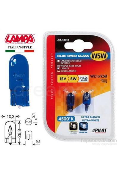 Lampa Blue-Xe Mavi Cam Beyaz Işık 5W 12V Dipsiz Gösterge Ampul