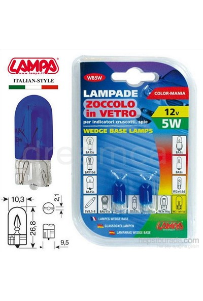 Lampa Mavi 5W 12V Dipsiz Gösterge Ampulü 2 Ad. 58360