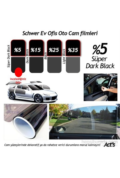 Schwer ÇİZİLMEZ Cam Filmi 50 Cm x 6 Metre %5 Süper Dark Black ( 3 m2) Çekme Aparatlı