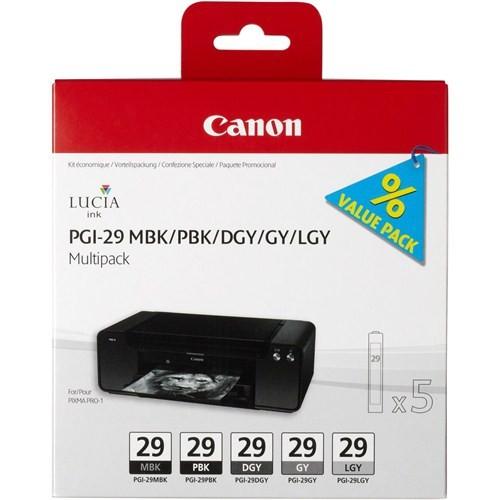 Canon PGI-29 MBK/PBK/DGY/GY/LGY 5'li Mürekkep Kartuş