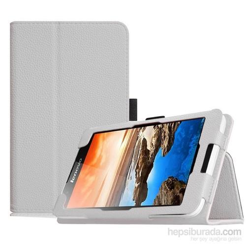 Microsonic Lenovo Tab2 A7-30 7 İnch Tablet Kickstand Deri Kılıf Beyaz