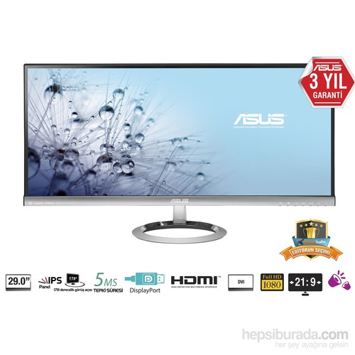 "Asus MX299Q 29"" 5ms (HDMI/MHL+DisplayPort+Dual-link Dvi-D) AH-IPS Panaromik Full HD LED Monitör"