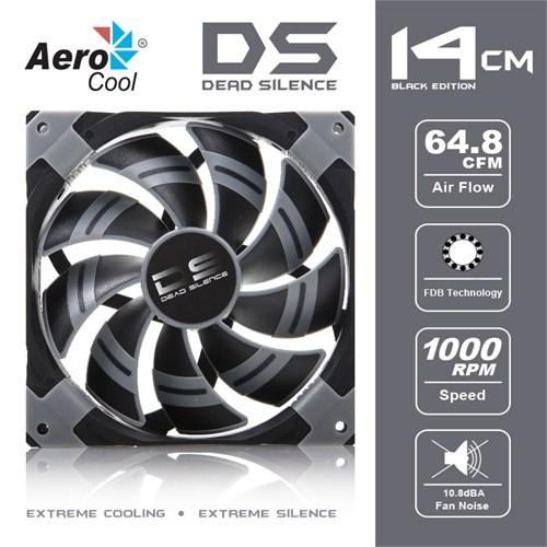 "Aerocool ""Dead Silence"" 14cm Siyah Sessiz Kasa Fanı (AE-CFDS140BK)"