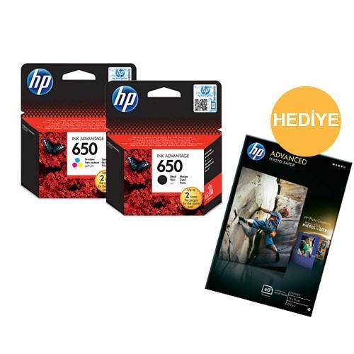 HP 650 Renkli Siyah Kartuş Seti + HP Advantage Fotoğraf Kağıt Hediyeli (Q8008A)