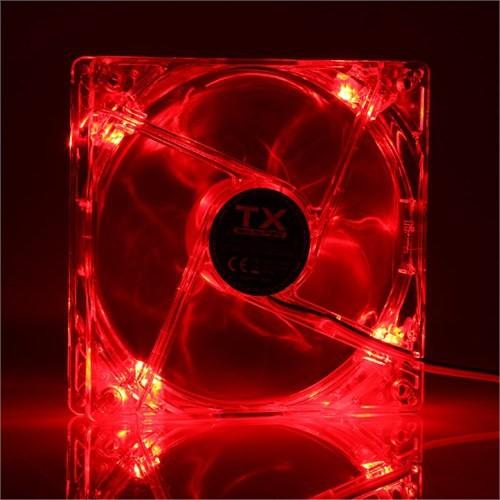 TX 12 cm Kırmızı Ledli Sessiz Şeffaf Kasa Fanı (TXCCF12RD)