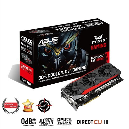 Asus Amd Radeon R9 390X STRIX GAMING 8GB 512Bit GDDR5 (DX12) PCI-E 3.0 Ekran Kartı (STRIX-R9390X-DC3OC-8GD5-GAMING)