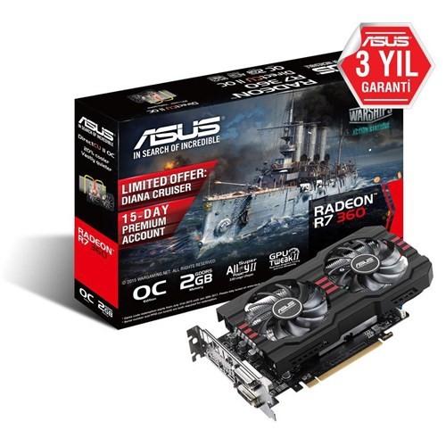 Asus Amd Radeon R7 360 OC 2GB 128Bit GDDR5 (DX12) PCI-E 3.0 Ekran Kartı (R7360-OC-2GD5-V2)