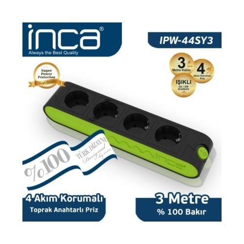 Inca 4'lü Akım Korumalı 3M Işıklı Siyah Yeşil Priz (IPW-44SY3)