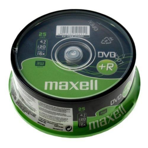 Maxell DVD+R 16X 4,7GB 120MIN Data/Video 25'Li Cakebox