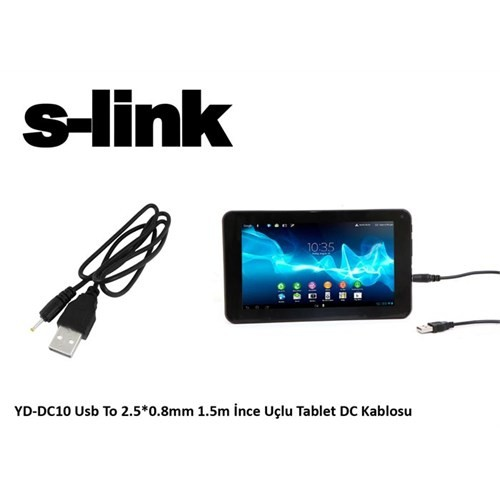 S-Link Yd-Dc10 Usb To 2.5*0.8Mm 1.5M İnce Uçlu Tablet Dc Kablosu