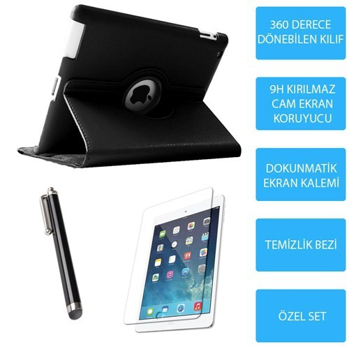 Mobile World iPad Air 2 Siyah Kılıflı 3 Parça Aksesuar Seti