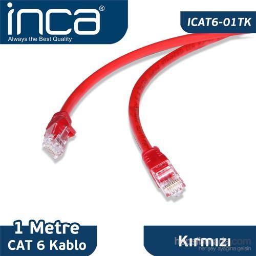Inca ICAT6-1TK 1m CAT6 Kırmızı Kablo