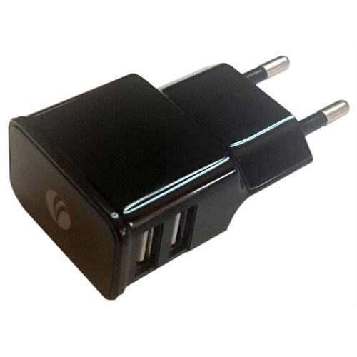 Vcom 2.1A Dual Usb Şarj Aleti Siyah Micro