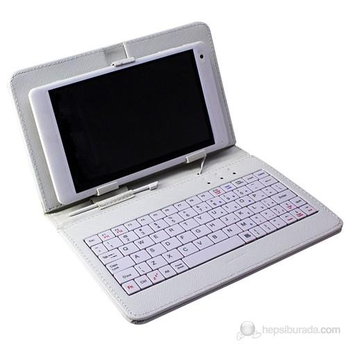 """GreenTech GT-TK01 USB Klavyeli 7"""" Tablet Kılıfı (Beyaz)"""