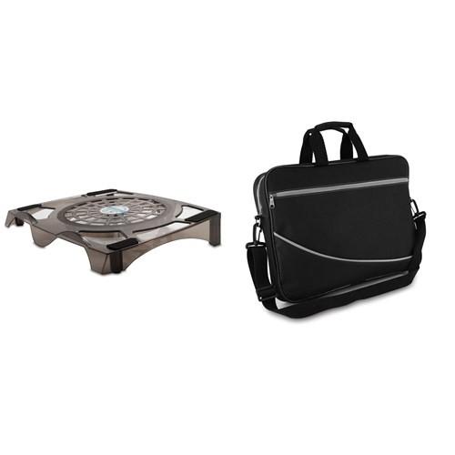 """S-link SLX-NT35 Şeffaf Siyah Notebook Soğutucu & Snopy DR-500 15.6"""" Siyah Notebook Çantası (10808)"""