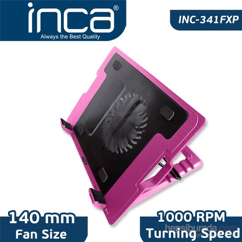 "Inca INC-341FXP 14cm Sessiz Led Fanlı Stand 7""-17"" Pembe Notebook Soğutucu"