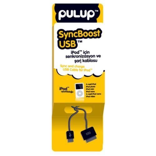 Pulup SyncBoost USB Siyah iPod, iPad Uzayabilen Şarj ve Senkronizasyon Kablosu (11725)