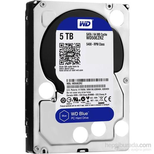 """WD Blue 5TB 5400RPM Sata 3.0 64Mb 3.5"""" Sabit Disk (WD50EZRZ)"""