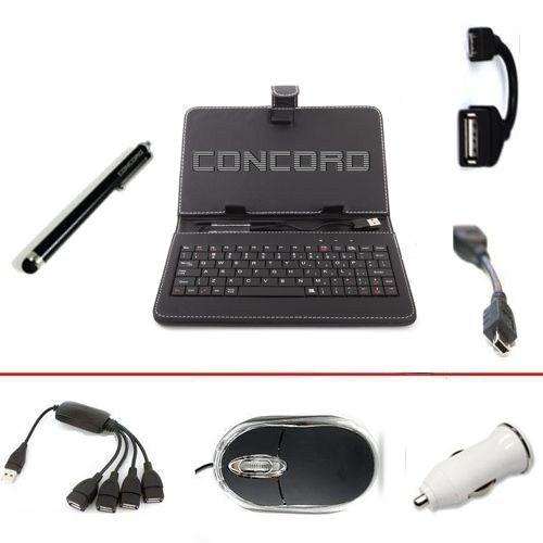 "Concord 7"" Uyumlu Multi Hediye Paketli Siyah Klavyeli Kılıf Standlı"