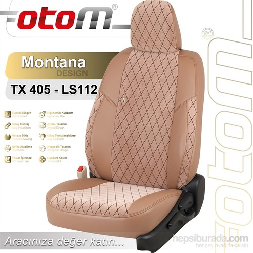 Otom Toyota Corolla Hb-Sw 2002-2006 Montana Design Araca Özel Deri Koltuk Kılıfı Sütlü Kahve-101