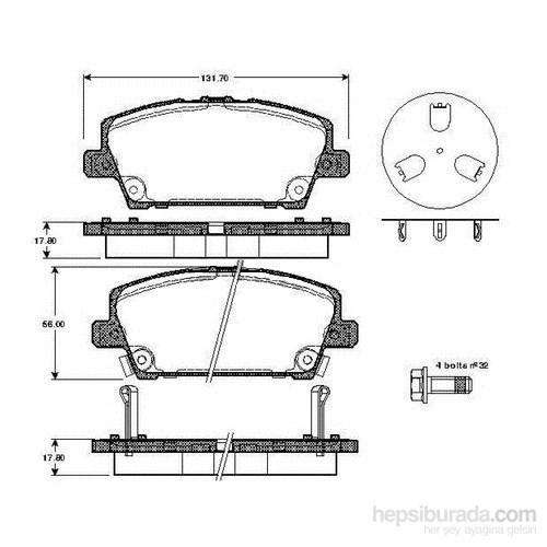 Bosch - Fren Balatası Ön (Honda Cıvıc Vıı 1.3 I Ima Hybrıd) [ 131,7X56,0X17,8 Mm ] - Bsc 0 986 Tb2 934