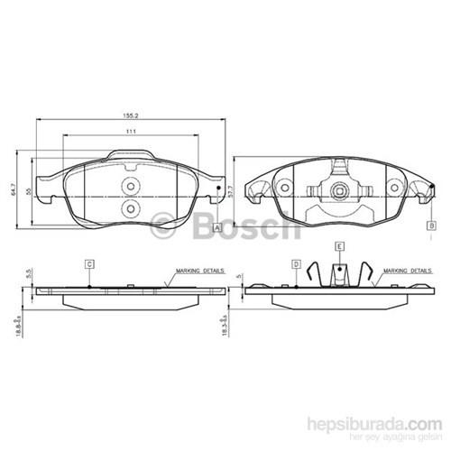 Bosch - Fren Balatası Ön (Partner Tepee-5008 Citroen :C4 Pıcasso)[ 155,2X64,7X18,8/18,3 Mm ] - Bsc 0 986 Tb2 949