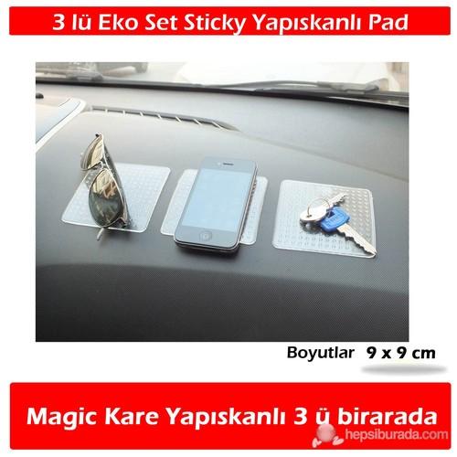 AutoCet 3 Lü Ekonomik Kare Şeffaf Magic Pad 9 x 9 cm