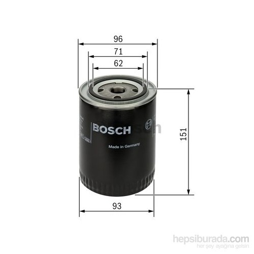 Bosch - Yağ Filtresi (Audı : A4 1.8T) - Bsc 0 986 Tf0 006
