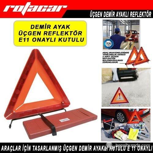 Rotacar Üçgen Reflektör E11 Sertifikalı Demir Ayaklı Urf02