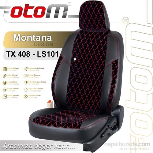 Otom Tofaş Şahin 1987-2001 Montana Design Araca Özel Deri Koltuk Kılıfı Kırmızı-109