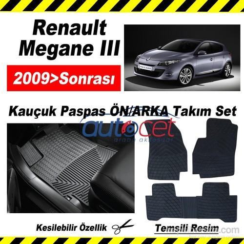 Renault Megane III 2009> Kauçuk Ön / Arka Araca Özel Paspas Seti