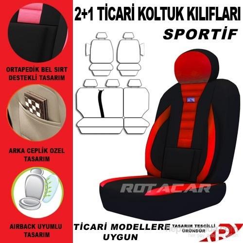 Rotacar Fiat Fiorino Koltuk Kılıf Seti 3N Ortapedik - Kırmızı Siyah