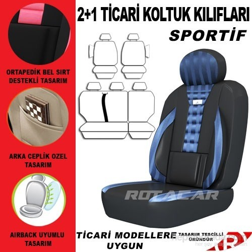 Rotacar Peugeot Bipper Koltuk Kılıf Setiı 3N Ortapedik - Mavi Siyah