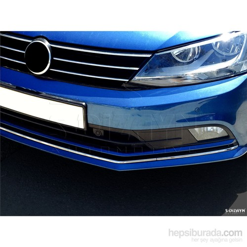 S-Dizayn Volkswagen Jetta Krom Ön Tampon Çıtası 3 Prç. 2014 ve Üzeri Makyajlı