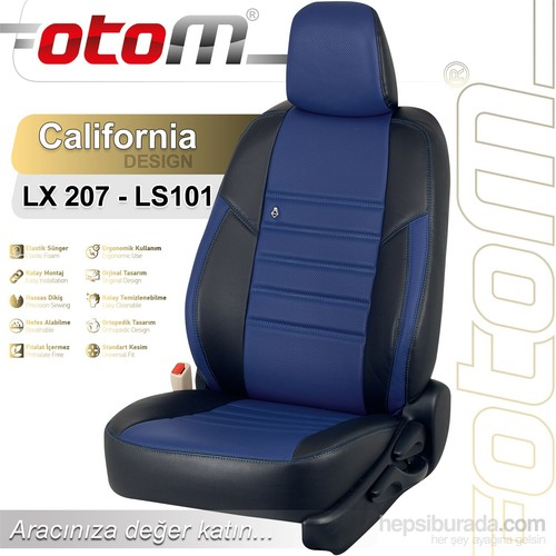 Otom Tofaş Doğan Slx 1993-2000 California Design Araca Özel Deri Koltuk Kılıfı Mavi-102