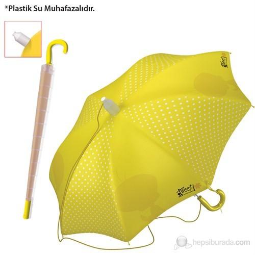 Tweety Şemsiye (Büyük Boy Plastik Su Muhafazalı) (Sarı)(Kız Öğrenci)
