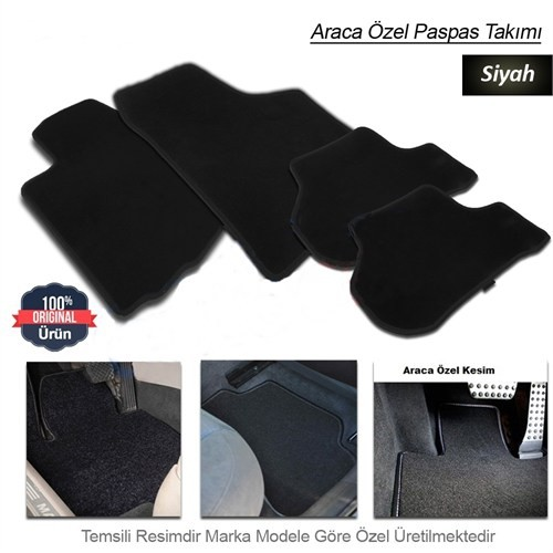 Schwer Opel MERİVA Halılı Oto Paspas Seti Siyah-4735
