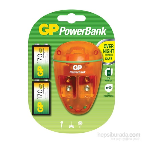 GP Powerban PB09 Special 9V Pil Şarj Cihazı 170Mah 9V Pil Hediyeli