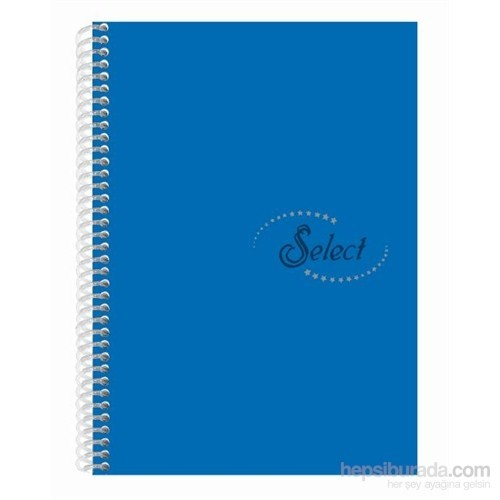 Notte 60105 Select Mavi Plastik Kapak Spiralli A4 80 Yaprak Çizgili